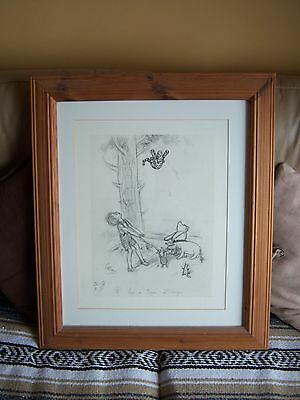 "E.H.Shepard Signed drawing "" Come On Tigger its easy!"" print in pine frame,used."