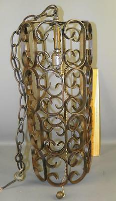 Antique Spanish Revival Wrought Iron Scrolled Chandelier Pendant Light Fixture