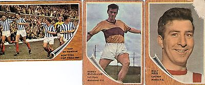 a&bc gum Scottish football cards 1964 green backs 3 cards numbers 13 20 72