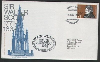Scotland 1971 Sir Walter Scott Bicentenary Special Cover And Cancel
