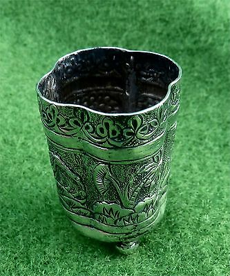 TINY INDIAN SILVER FOOTED BOWL OR BEAKER - c1890 - RAISED BIRD DECORATION 0.85oz