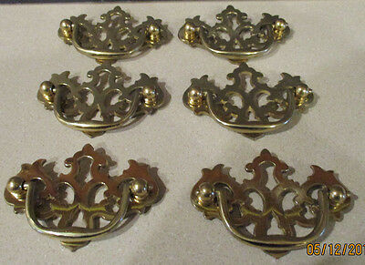"6 Vintage Solid Polished Brass Chippendale Style Drawer Handles  2.5"" on center"