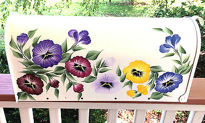 Hand Painted Mailbox FREE SHIPPING Decorative Floral Pansy Garden Flowers