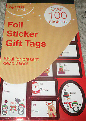 100  Cute Red Foil Stick On Christmas Labels Gift Tags Presents Santa Snowman