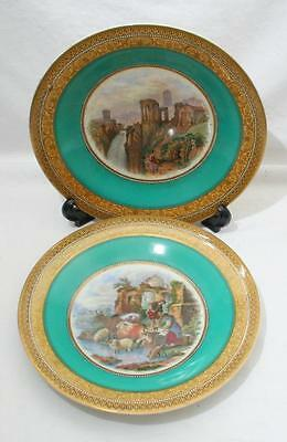 Pair of Antique 19th Century Prattware Plates with Green & Gilt Borders