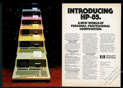 1980 HP-85 computer color photo Hewlett-Packard vintage print ad