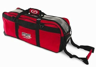 Storm 3 Ball Tournament Tote Bowling Bag with tow wheels Color Red