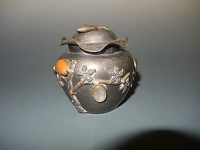 Chinese Pewter Box Applied Cabochon Gem Stones Floral Design Antique