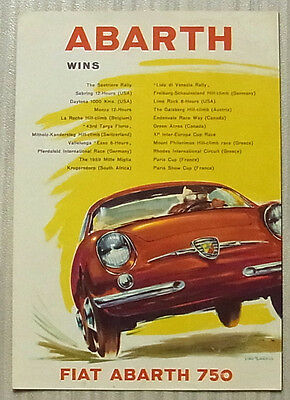 FIAT ABARTH Car Range Sales Brochure c1960 700 750 850 COUPE Spyder