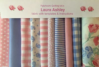 LAURA ASHLEY ROSE CHARLOTTE FABRIC 80 piece.PATCHWORK QUILTING KIT+iNSTRUCTIONS