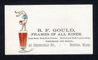 BOSTON MA - B F Gould Business Card 1880-90s SCRAP BOOKS Picture Frames ACROBAT