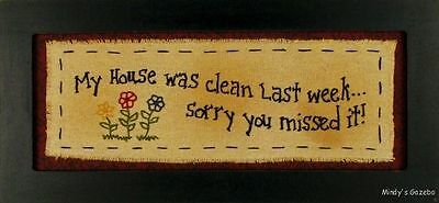 Primitive Country Rustic Humorous Stitched Fabric Antique Home Wall Decor 2526B