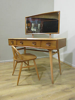 ORIGINAL VINTAGE RETRO 70's ERCOL BLONDE MIRROR TOPPED DRESSING TABLE & CHAIR
