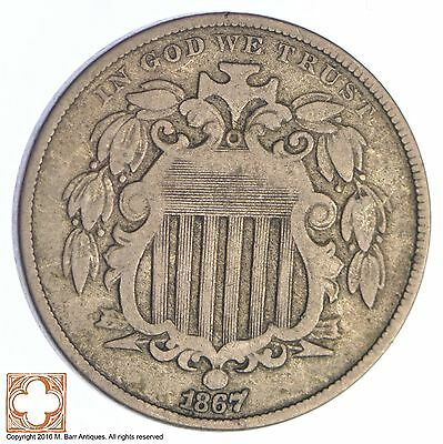 1867 Shield Nickel - Without Rays *YB17