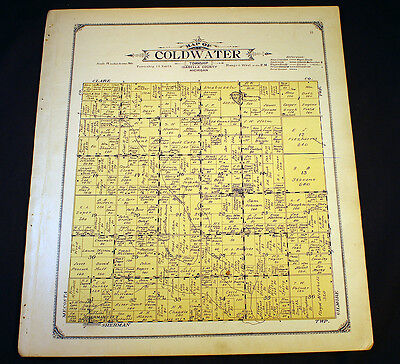 Coldwater Township Isabella County Michigan 1915 Plat Map