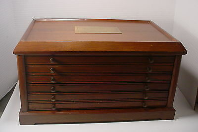 Coin Collection Storage Display Box Case Chest Drawers holds 50 Coins Wooden