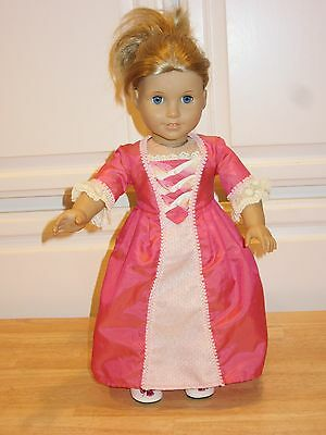 "For American Girl Doll 18"" Retired ELIZABETH CORAL TAFFETA MEET DRESS + SHOES"