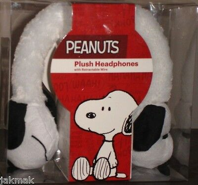 Peanuts Snoopy Plush Headphones with Retractable Wires and Volume Limiter New!