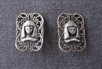 Antique Egyptian Revival Filigree Silvered Metal Earrings