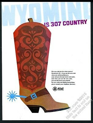 1966 Wyoming theme cowboy boot art Bell Telephone 307 area code vintage print ad