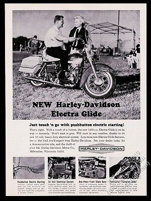 1965 Harley-Davidson Electra Glide motorcycle photo vintage print ad