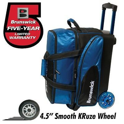 Brunswick Flash C 2 Ball Roller Bowling Bag with URETHANE WHEELS Color Blue