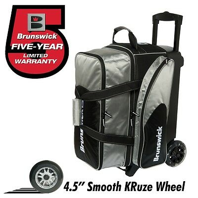 Brunswick Flash C 2 Ball Roller Bowling Bag with URETHANE WHEELS Color Silver