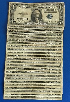 1935A-1957B $1 Blue SILVER Certificates Set of 25 Assorted X095 Old Currency!