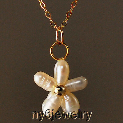 """Freshwater Rice Pearl Flower Necklace with Dainty Gold Filled Chain & Clasp 17"""""""