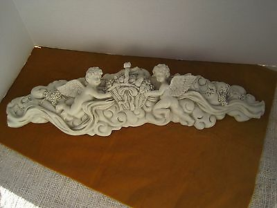 CHERUBS on OFF WHITE SWAG WALL DECOR HARD RESIN Shabby Chic Cottage