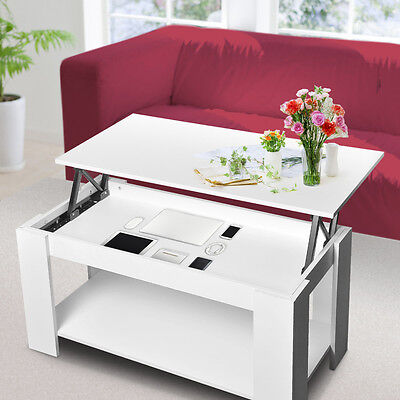 White Caspian Lift Up Top Coffee Table with Storage & Shelf Modern