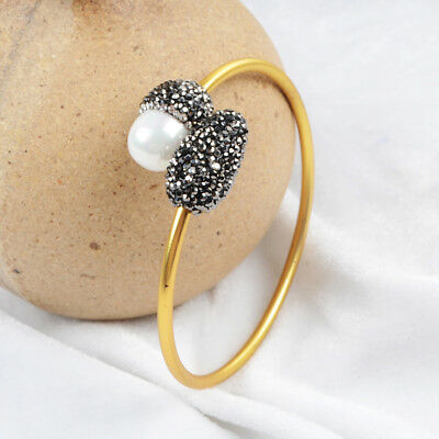 1Pcs CZ Paved White Shell Pearl Brass Gold Plated Open Bangle Jewelry DIY HJA436