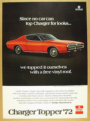 1972 Dodge Charger Topper red car photo vintage print Ad