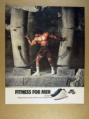 1986 Nike Air the Rake Shoes muscular gladiator chained to columns print Ad