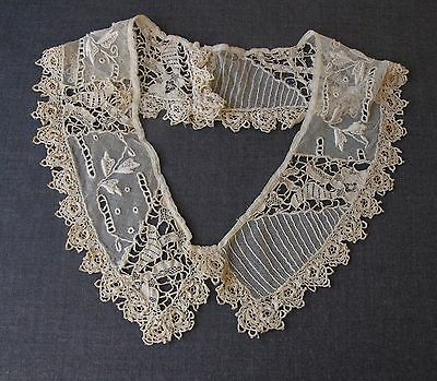 Antique Victorian Beige Embroidery Tulle Irish Crochet Lace Large Collar   6342B
