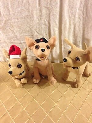 Lot of 3 different Taco Bell Talking dogs Applause 1999