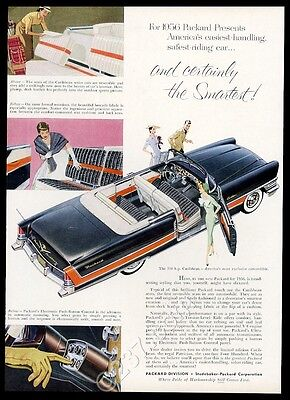 1956 Packard Caribbean convertible black and red car vintage print ad