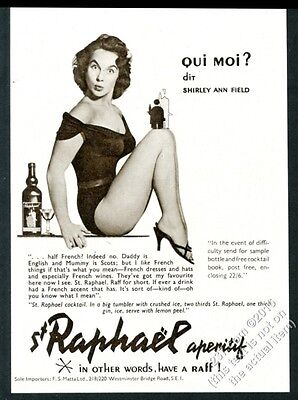1956 Shirley Anne Field sexy pinup photo St. Raphael aperitif vintage print ad