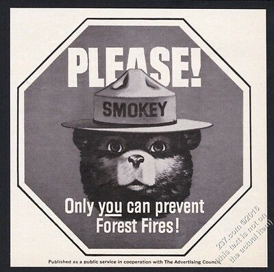 1968 Smokey the Bear on stop sign octagon Prevent Forest Fires vintage print ad