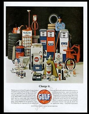 1963 Gulf oil gas pump station products photo vintage print ad