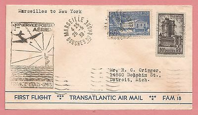 1939 France First Flight Airmail Cover Clipper To Ny Fam 18 Aamc F18-6