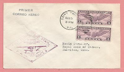 1931 Virgin Islands First Flight Airmail Cover To Nuevitas Fam 6 Aamc F6-123