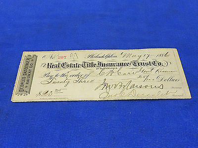 Peoples Passenger Railway Co. 1886 Check,Canceled Check is for $23.25 ,RARE