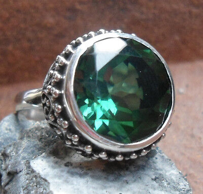 925 Sterling Silver-LH11-Balinese Handcrafted Woman Ring Green Quartz Size 8