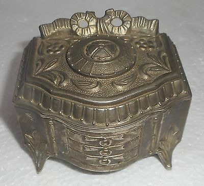 Antique Japanese Antimony Box Highly Decorated Ornamental Design
