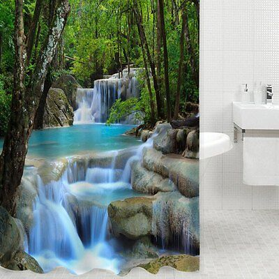 3D Waterfall Scenery Waterproof Shower Curtain Bathroom Polyester Bath Curtain