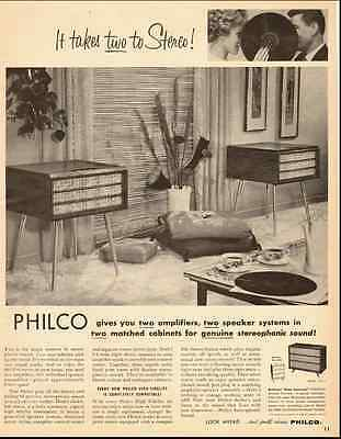 1959 vintage ad, PHILCO STEREO SYSTEM, 2 amps, 2 speakers, 2 cabinets -102712