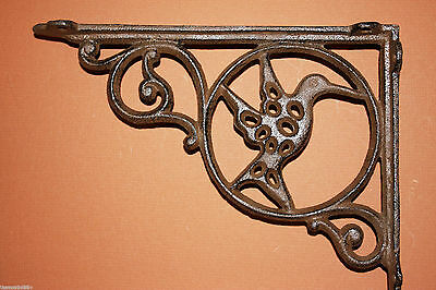 "(4)Pcs, Hummingbird Patio Decor, Shelf Brackets,9"" Shelf Brackets,cast Iron,b-24"