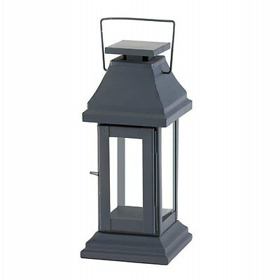 Modern Asian Pagoda Iron & Glass Candle Lantern Oriental Home Decor NEW Gray