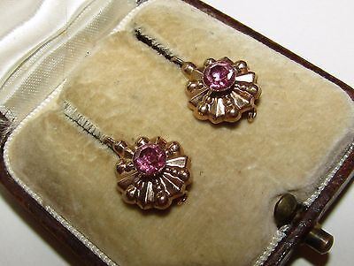 Exquisite, Antique, Georgian, 9Ct Gold Dormeuses Earrings/natural Pink Sapphire